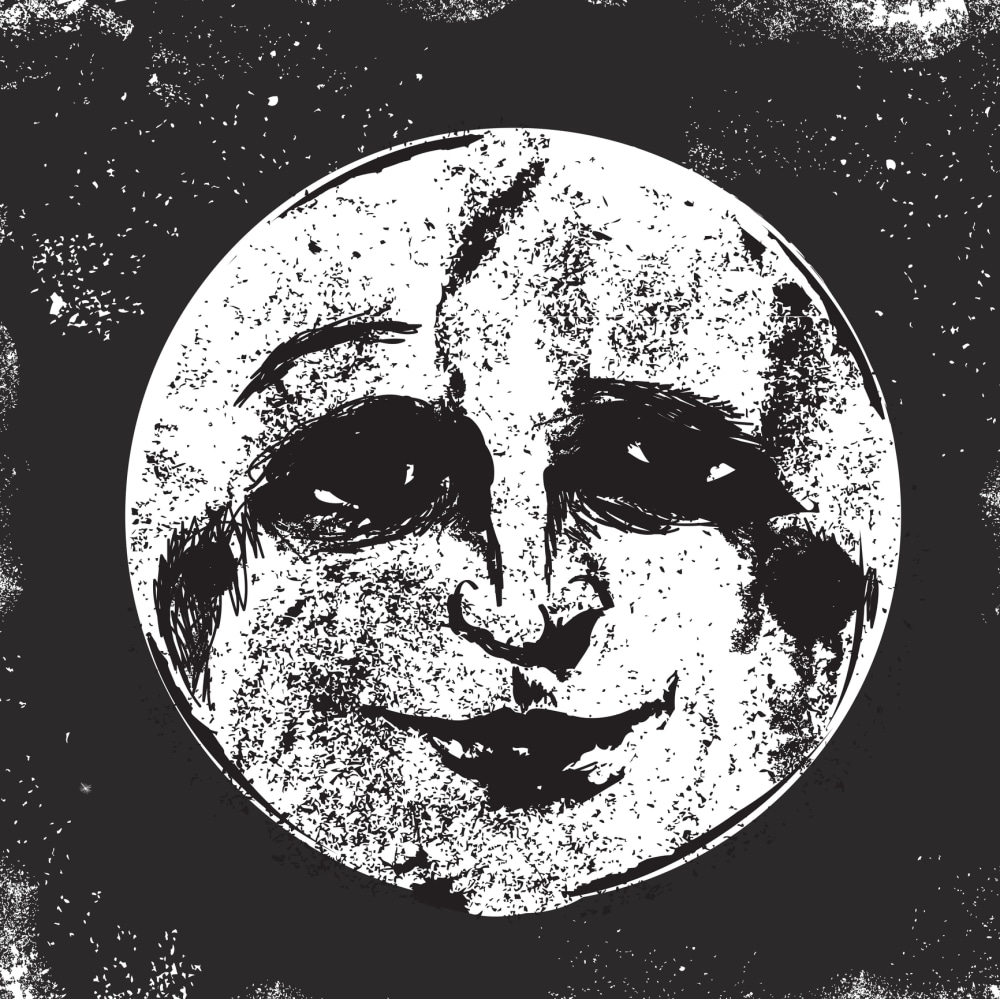Old fashioned black and white vector illustration of a man in the moon. Facial expression of eyebrow raised. Download includes Illustrator 8 eps, high resolution jpg and png file.