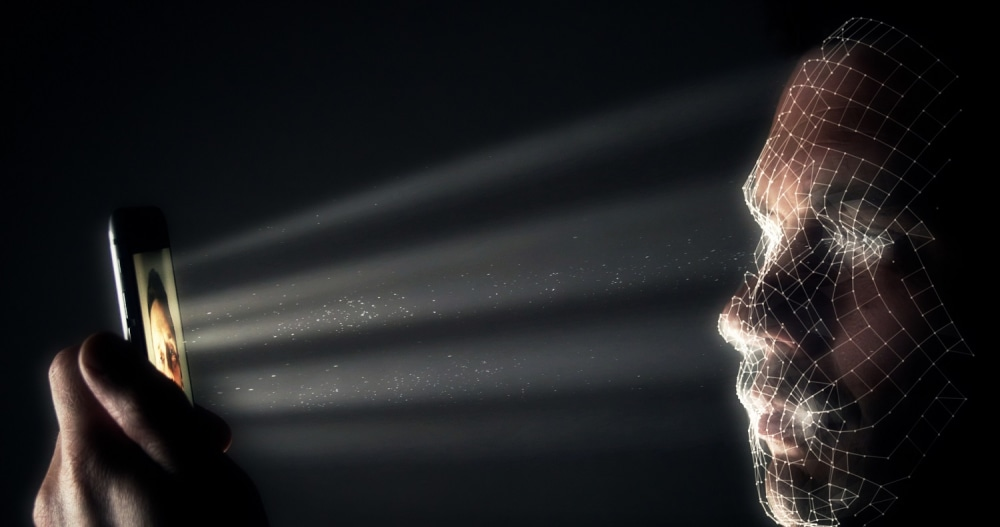 Smartphone scanning a face