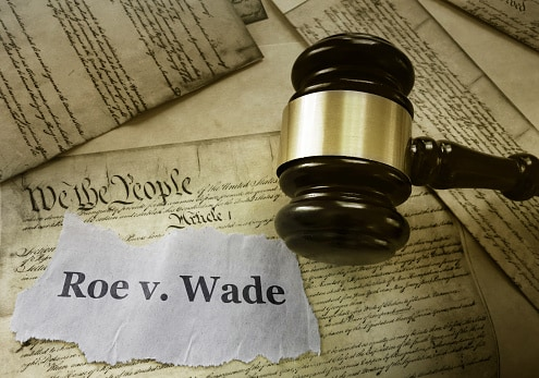 Roe v. Wade note on top of U.S. Constitution