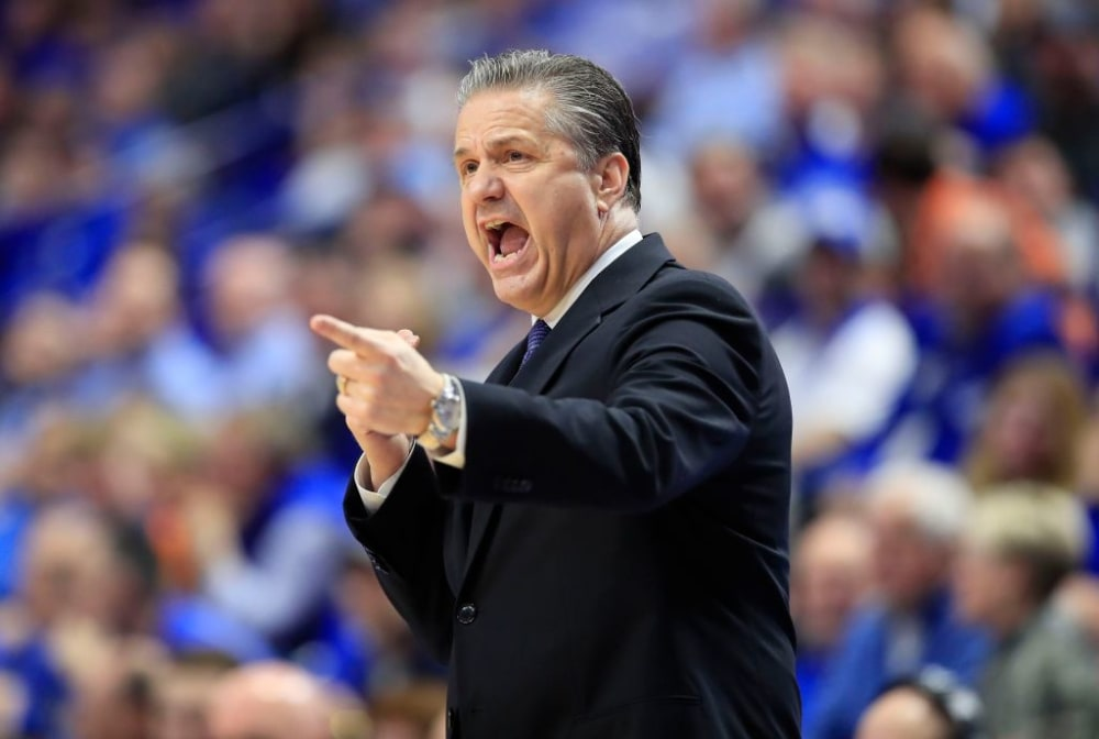 LEXINGTON, KENTUCKY - MARCH 03:   John Calipari the head coach of the Kentucky Wildcats gives instructions to his team against the Tennessee Volunteers at Rupp Arena on March 03, 2020 in Lexington, Kentucky. (Photo by Andy Lyons/Getty Images)