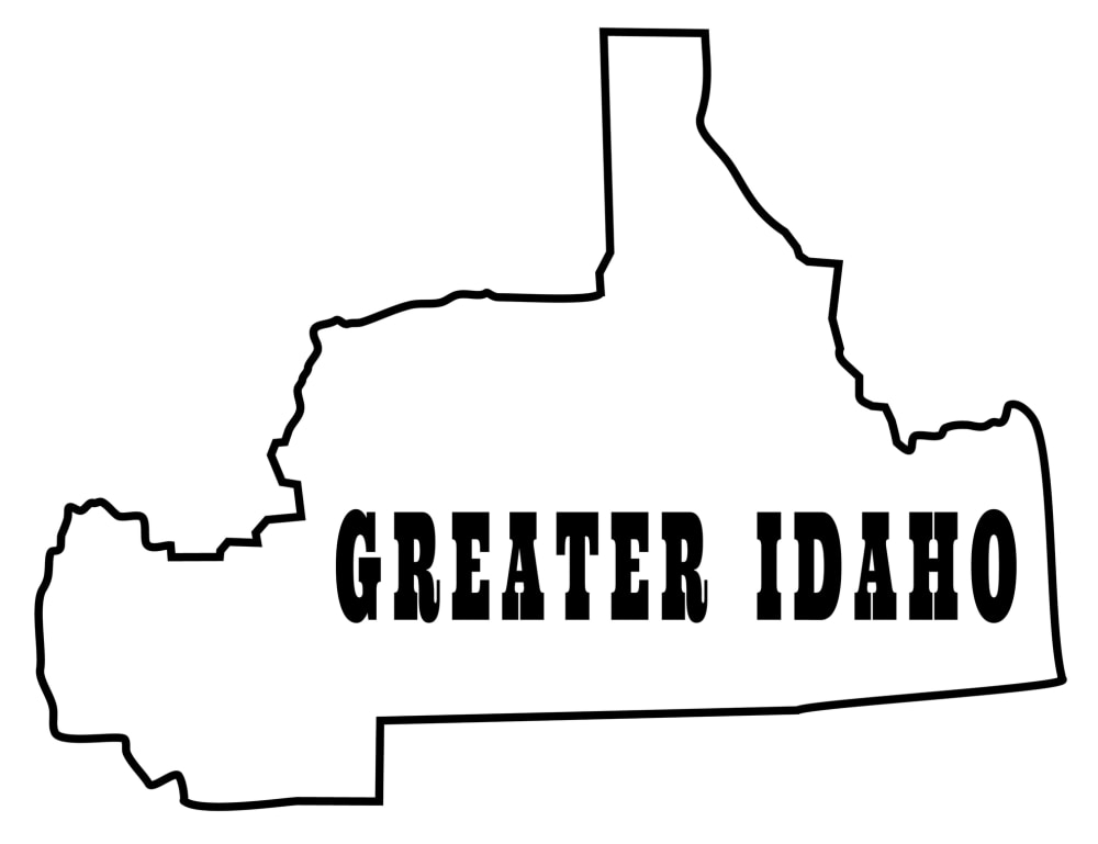 Proposed state of Greater Idaho with parts of Oregon and Califonria