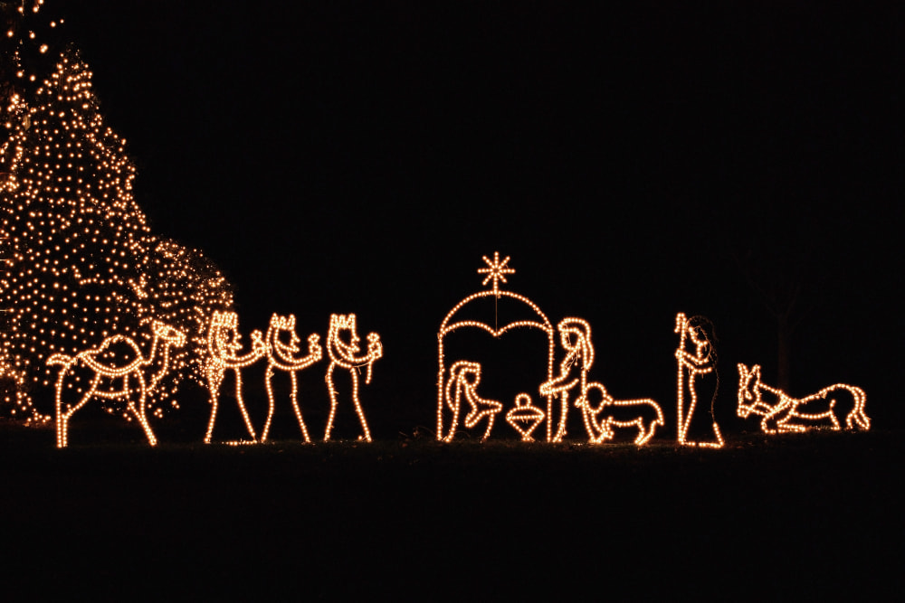 Nativity scene lights at night.