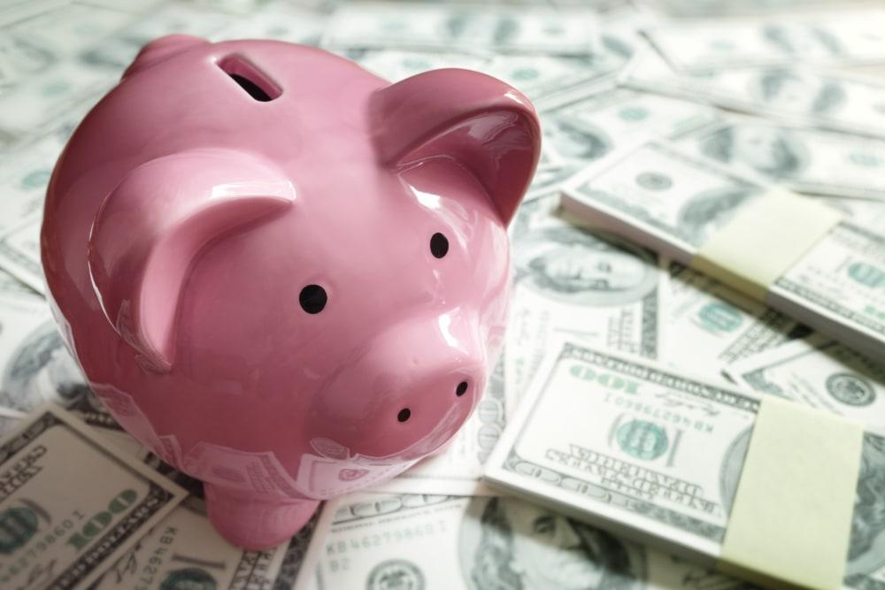 Piggy bank on pile of cash