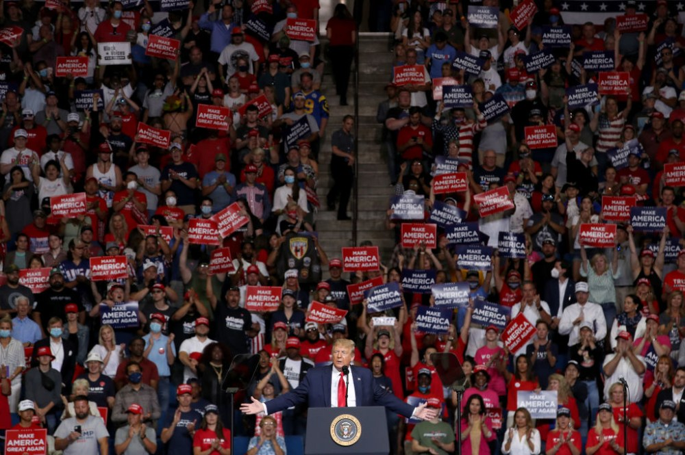 TULSA, OKLAHOMA - JUNE 20: U.S. President Donald Trump speaks at  a campaign rally at the BOK Center, June 20, 2020 in Tulsa, Oklahoma. Trump is holding his first political rally since the start of the coronavirus pandemic at the BOK Center today while infection rates in the state of Oklahoma continue to rise. (Photo by Win McNamee/Getty Images)