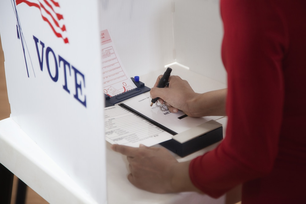 Person casting their vote