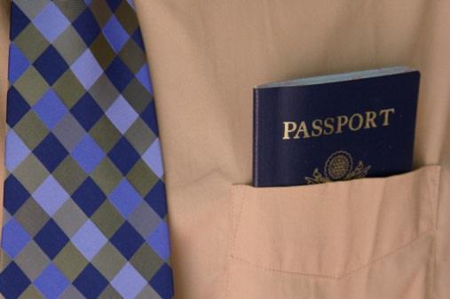 Business man and passport